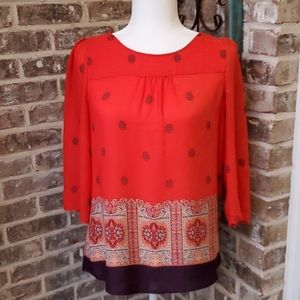Anthropologie Mauve Red Print Beautiful Blouse